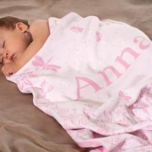 Babydecke mit Wiese und Namen. XXL